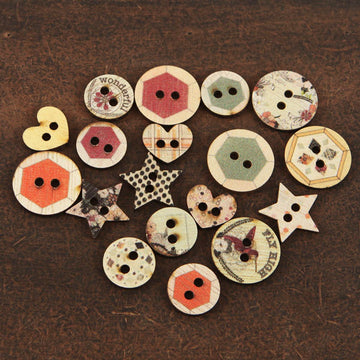 Wood Buttons Rondelle