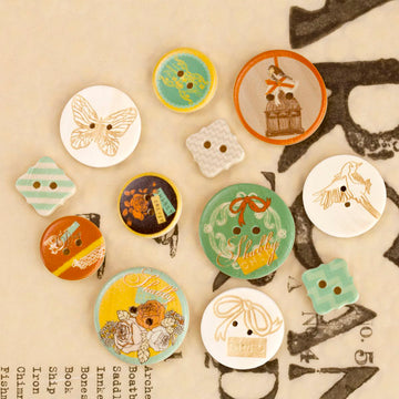 Wood Buttons - Lady Bird