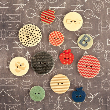 school Memories- Wood Buttons