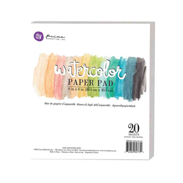 "8""x8"" Watercolor Paper Pad 20pc 140lbs cold press 655350847739"