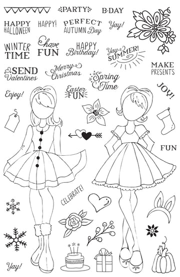"Julie Nutting Planner Clear Stamp - ""Holiday Bliss"""