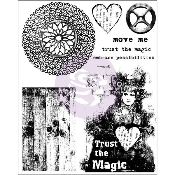 6x7.5 Cling Stamp-Trust the Magic