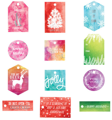 Watercolor Resist Tags - Sweet Peppermint 655350991555
