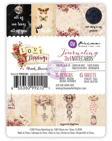 3x4 journaling cards - Love Clippings 655350992101