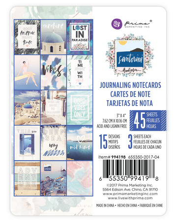 Santorini - 3X4 Journaling Cards