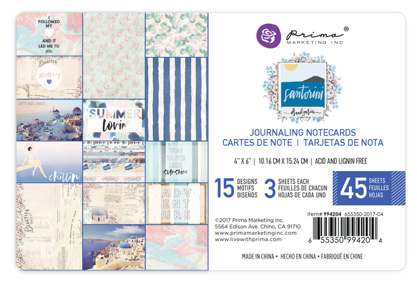 Santorini - 4X6 Journaling Cards