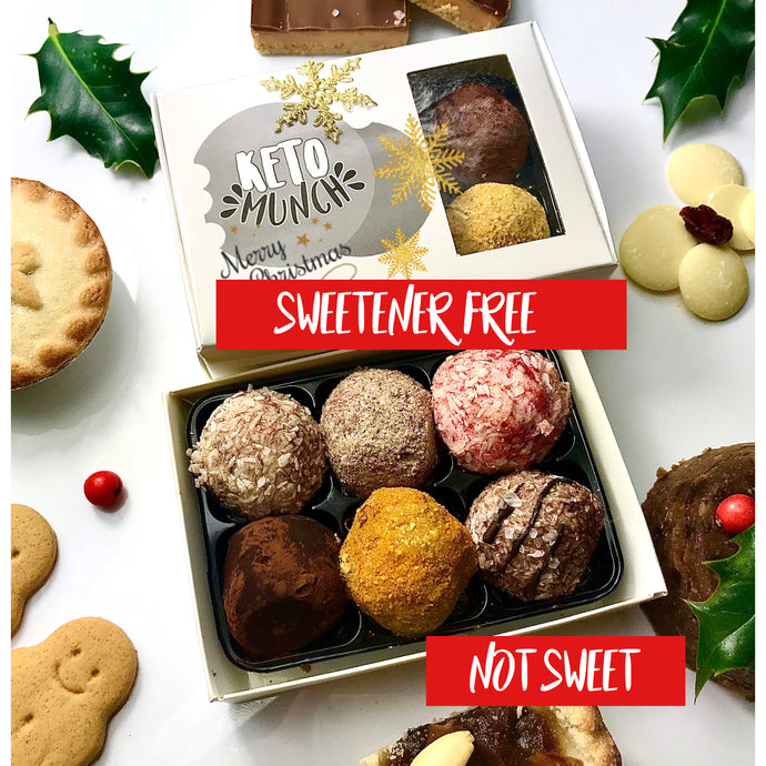 Keto Low Carb Pralines - Sweetener Free (Not sweet) Christmas Mixed flavours Box (one of each 6 flavours) Vegan Sugar Free Gluten Free,keto-munch-bites.