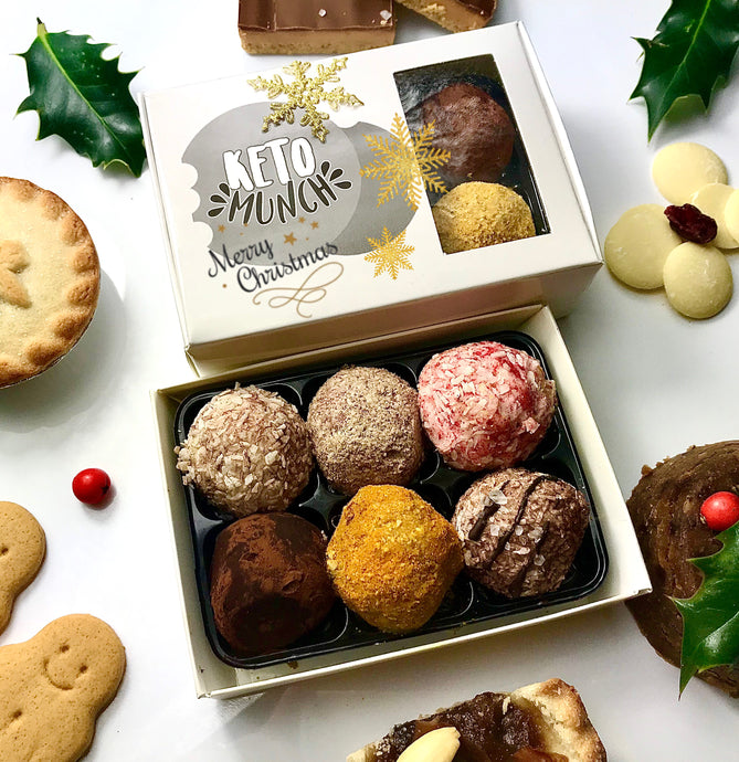 Keto Low Carb Pralines - Christmas Mixed flavours Box (one of each 6 flavours) Vegan Sugar Free Gluten Free,keto-munch-bites.