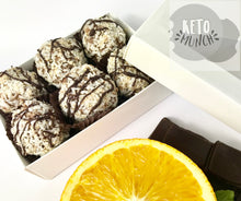 Load image into Gallery viewer, Keto Low Carb Pralines - Orange Chocolate - Keto Low Carb Vegan Sugar Free Gluten Free Fat Bombs - keto-munch-bites