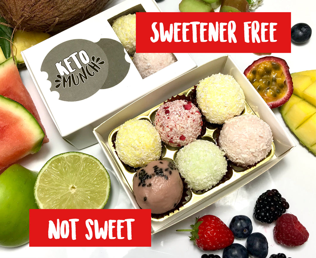 Sweetener Free (not sweet) - 6 Keto Low Carb Bombs - Summer Mixed Box (one of each flavour) - Vegan Sugar Free Gluten Free
