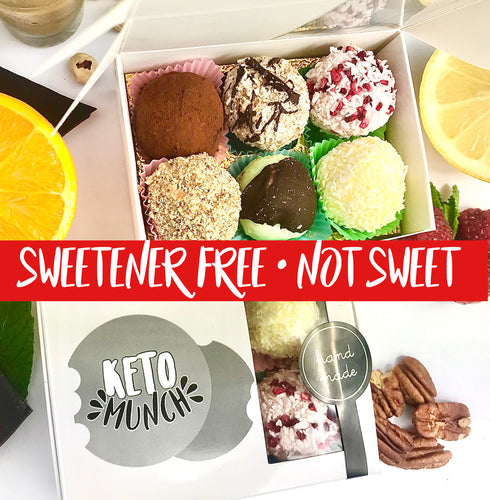 Sweetener Free (not sweet) Keto Low Carb Classic Mixed flavours Pralines Box (one of each 6 flavours) 6 PC,keto-munch-bites.