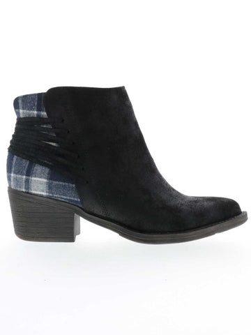 ACCOLADE, women's boots with print and lacing, brown and black, blue and black, 2 inch heel, 5 inch shaft, textile upper, plaid back detailing, chunky stacked heel, and Zip-up closure.