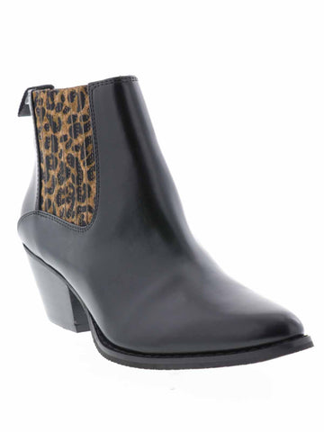 ALIBI, women's boot, western boots, black color with leopard print,  1 3/4 inch heel, 4 inch shaft, synthetic upper, easy pull-on wear, lightly padded footbed.