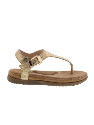 AMELIE, kids sandals, snake print thong, padded footbed, adjustable buckled ankle strap, rubber like sole, gold, pewter.