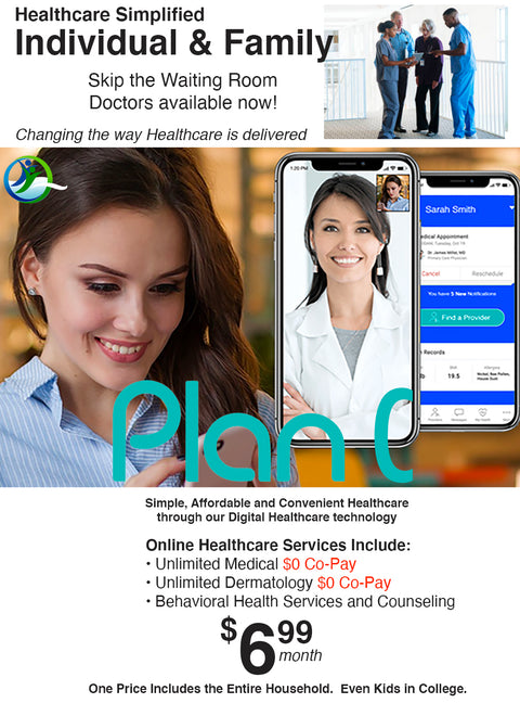 Exclusive! $6.99 Month Telemedicine Health Plan for Individuals & Families $0 Co-Pay