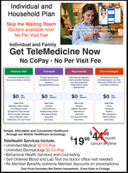 NPCA's $5 Goes To Charity Plan. Telemedicine Individual & Family Plan $0 Co-Pay