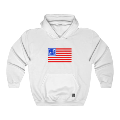 Young and Conservative American Flag Hooded Sweatshirt