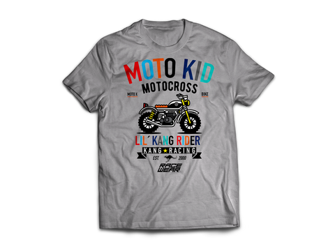 KR MOTO KID GREY HEATHER/BLACK TEE