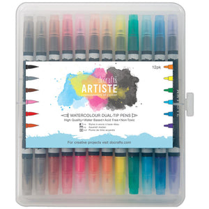 DoCraft Artiste Watercolor ( Watercolour ) Dual-Tip Pens set of 12