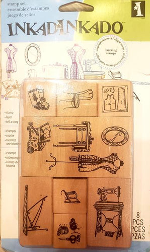Inkadinkado wood mounted rubber stamp set - Sewing room