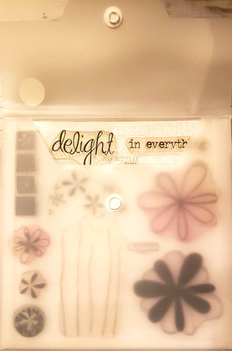 *Crafting for a cause - Close to My heart My Acrylix clear Stamp set in storage pouch - Used - Delight in Everything