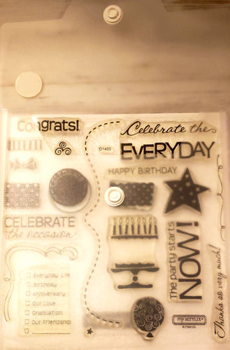 *Crafting for a cause - Close to My heart My Acrylix clear Stamp set in storage pouch - Used - Celebration Birthday cake