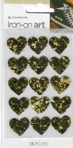 Momenta small 4color Iron-on Art for fabric - Chunky Gold glitter hearts