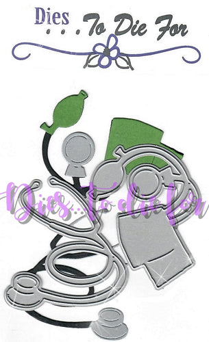 Dies ... to die for metal cutting die - Doctor / Nurse Stethoscope and Blood Pressure Cuff