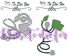 Load image into Gallery viewer, Dies ... to die for metal cutting die - Doctor / Nurse Stethoscope and Blood Pressure Cuff