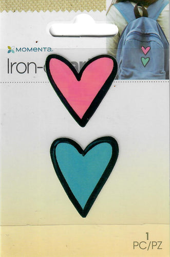 Momenta small 4color Iron-on Art for fabric - two Hearts