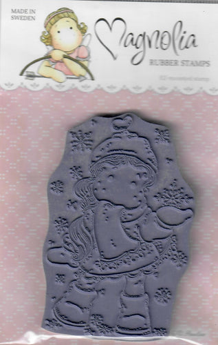Magnolia rubber cling stamp - unmounted - Tilda with ribbon heart scarf