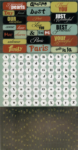 Letters - Prima cardstock sticker - Welcome to Paris Alphabet fonts and multi words pack