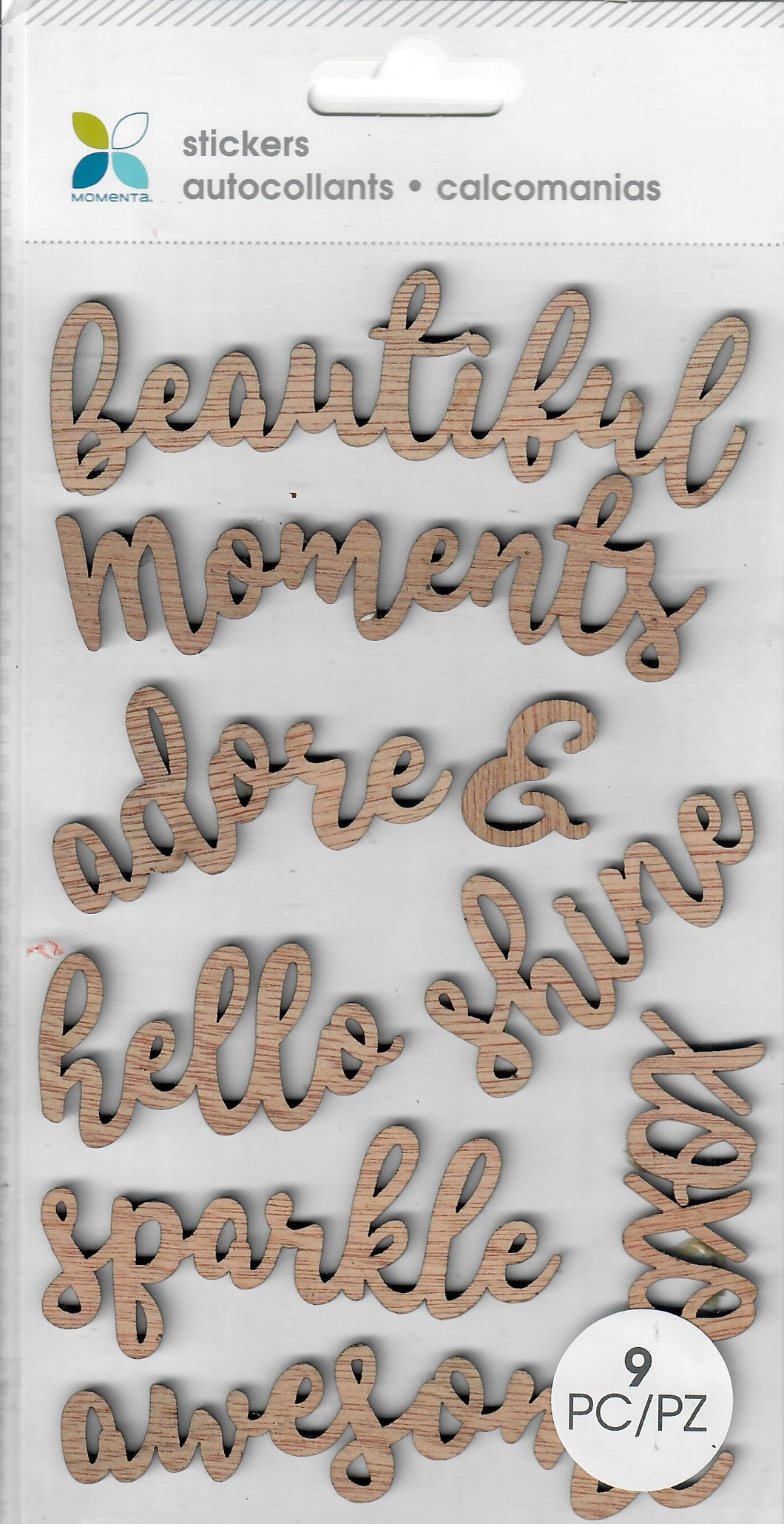 words - Momenta Dimensional stickers - Inspirational words - wood