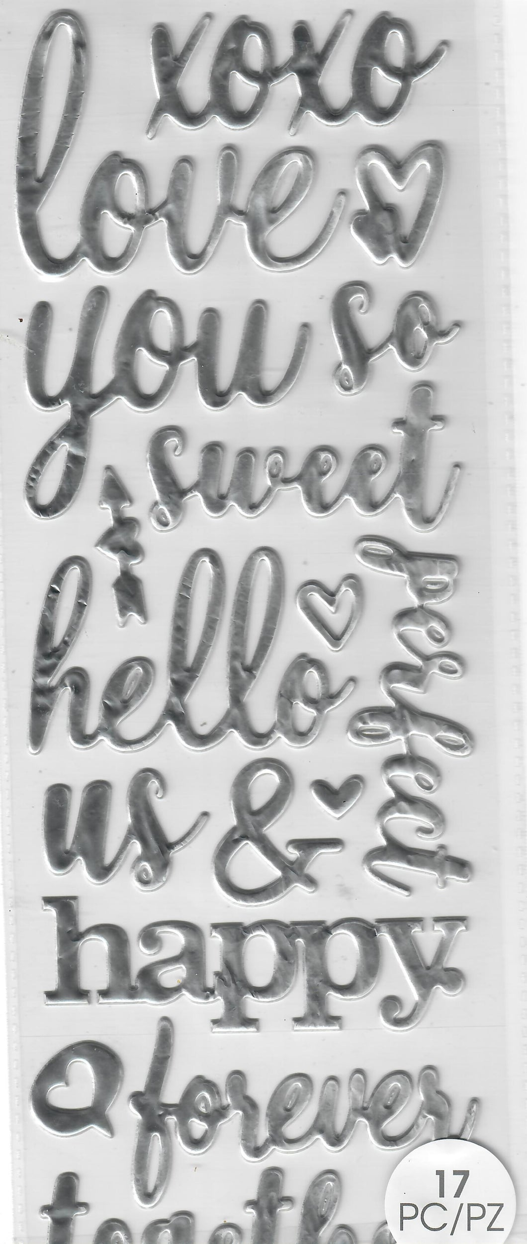 Love - Momenta Dimensional - Puffy word stickers -Love in silver
