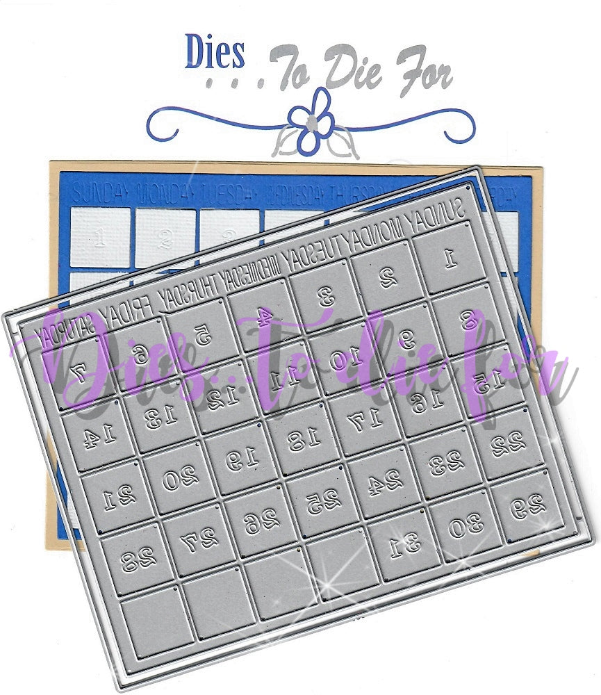 Dies ... to die for metal cutting die - Calendar Grid - A2 size - Removable numbers