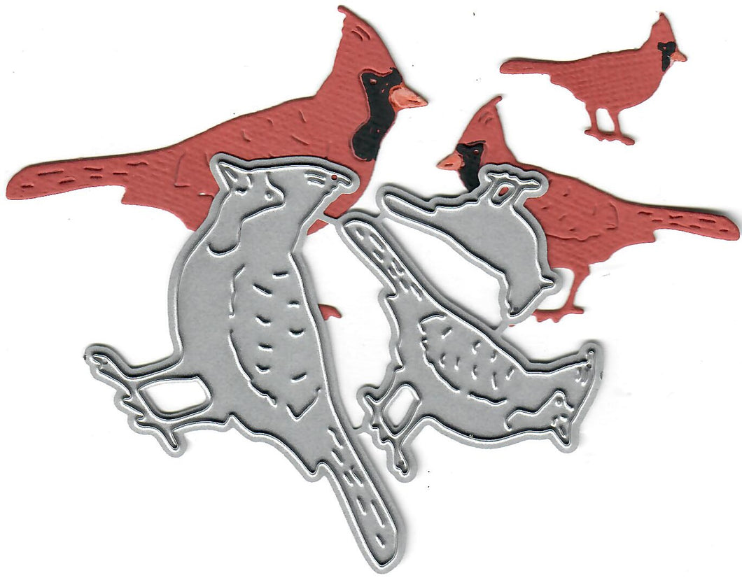 Dies ... to die for metal cutting die - Cardinal Family trio bird - standing