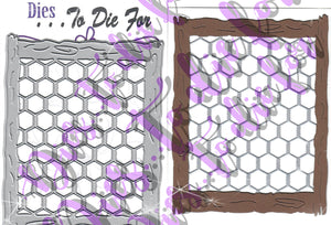 Dies ... to die for metal cutting die - Chicken wire and wood frame background