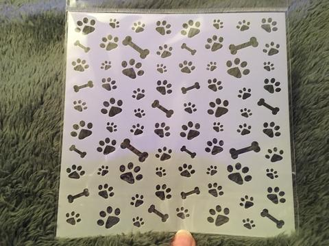 Gina Marie stencil 6x6 - Dog Paws and bones