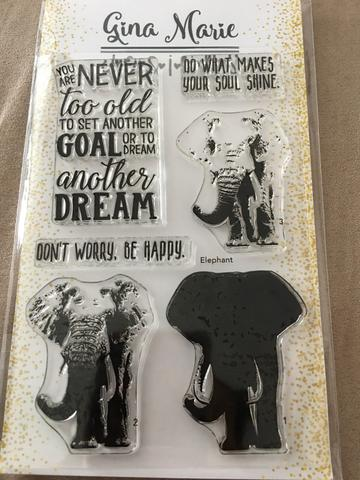 Gina Marie Clear stamp set - Elephant layered