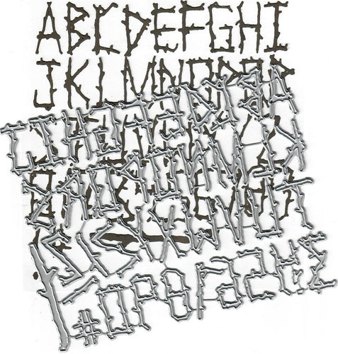 Dies ... to die for metal cutting die - Evin's Alphabet - Log sticks Font