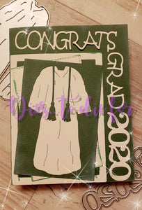 Dies ... to die for metal cutting die - Grad Gown large - honors stole & tassel, Masters stole