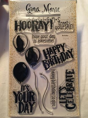 Gina Marie Clear stamp set - Happy Birthday Balloons