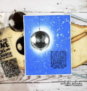 Gina Marie Clear stamp set - New Years Disco Ball layered