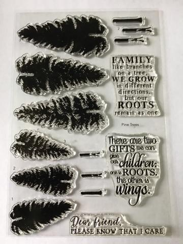 Gina Marie Clear stamp set - Pine Tree layered