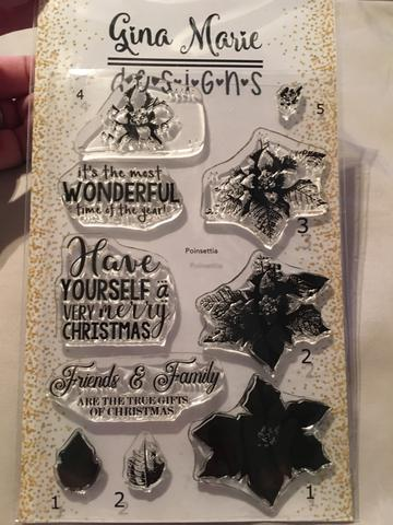 Gina Marie Clear stamp set - Poinsettia layered