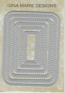 Gina Marie Metal cutting die -  Double stitched Rounded Rectangle