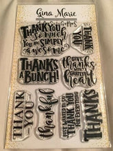 Load image into Gallery viewer, Gina Marie Clear stamp set - Thank you words