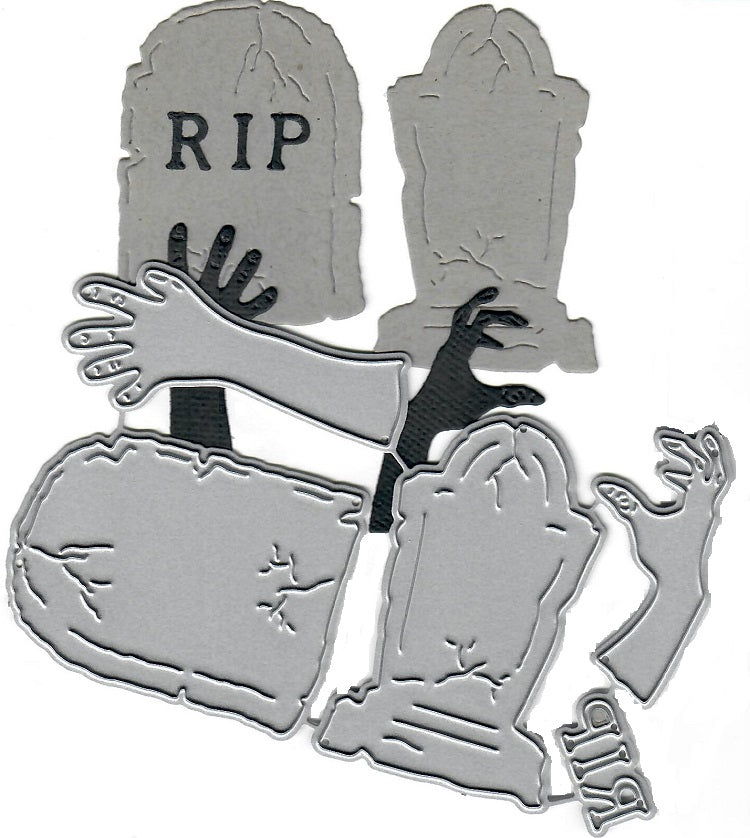 Dies ... to die for metal cutting die - Tombstones / Gravestone & Zombie hands