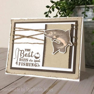 Gina Marie Clear stamp set - Trout fishing layered