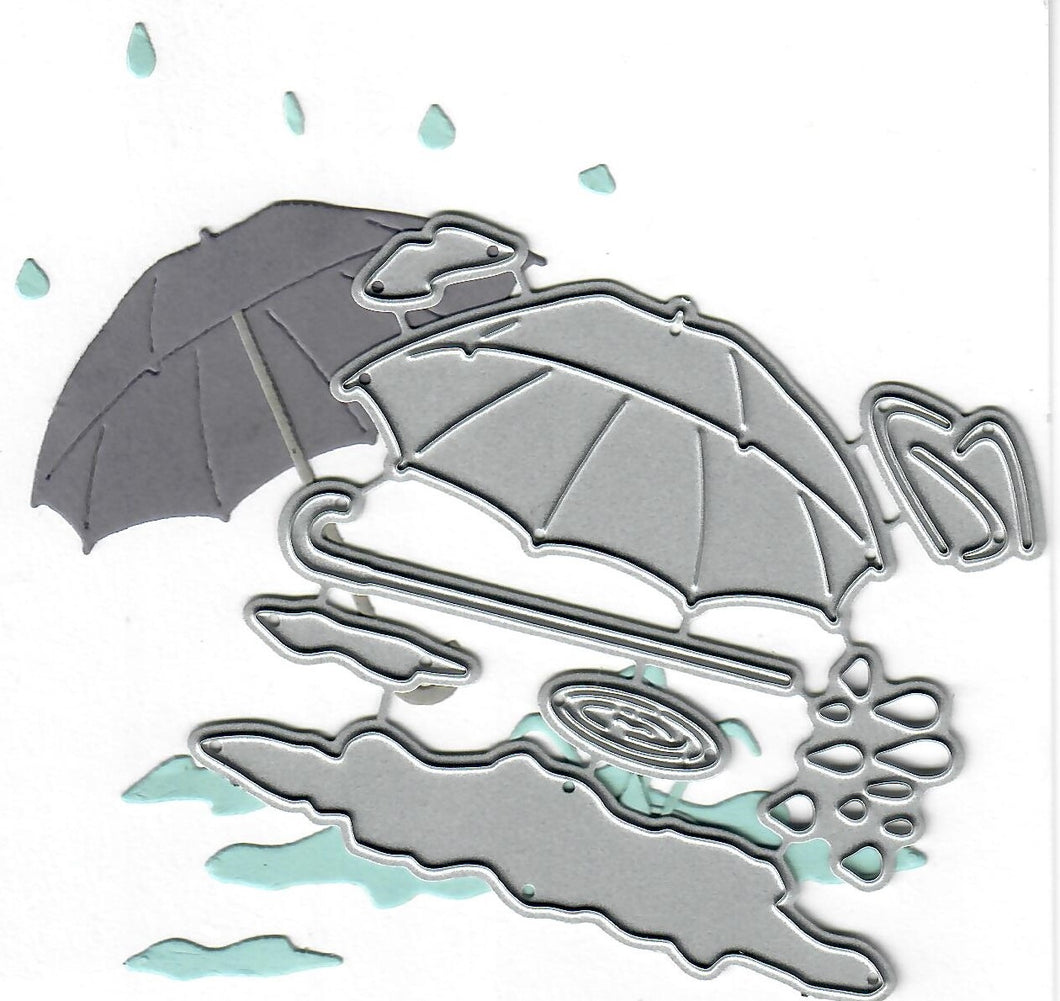 Dies ... to die for metal cutting die - Umbrella & raindrops with puddle